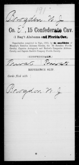 Brogden, W J - Age [Blank], Year: [Blank] - Fifteenth Confederate Cavalry (1st Regiment, Alabama and Florida Cavalry), A-C - Raised Directly by the Confederate Government