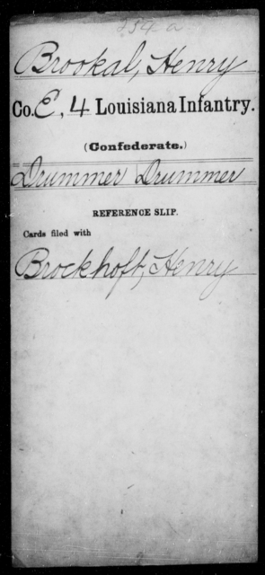 Brookal, Henry - Age [Blank], Year: [Blank] - Third Regiment, First Brigade, First Division, Militia, - Louisiana