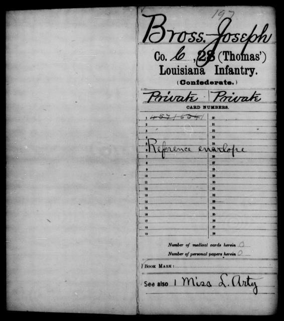 Bross, Joseph - Age [Blank], Year: [Blank] - Twenty-eighth (Gray's) Infantry, W - Z AND Twenty-eighth (Thomas') Infantry, A - B - Louisiana
