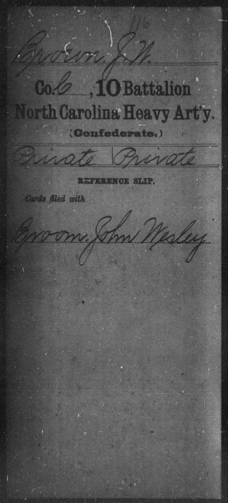 Brown, J W - Tenth Battalion, Heavy Artillery