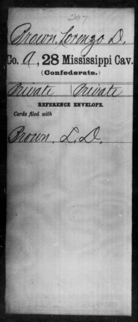 Brown, Lorenzo D - Age: [Blank], Year: [BLANK] - Mississippi Twenty-eighth Cavalry, A-B