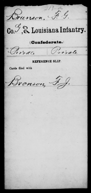 Brunson, F G - Age [Blank], Year: [Blank] - Second Infantry, Br - Co - Louisiana