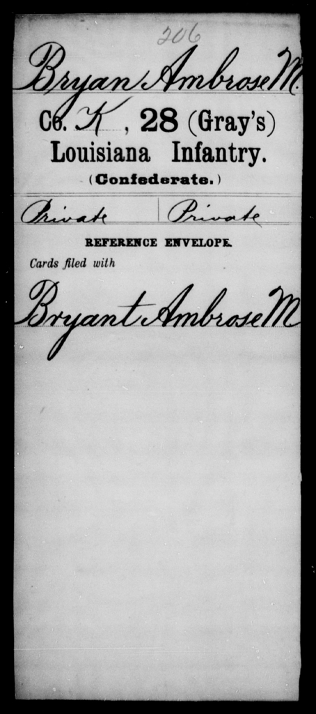 Bryan, Ambrose M - Age [Blank], Year: [Blank] - Twenty-eighth (Gray's) Infantry, A - Cl - Louisiana