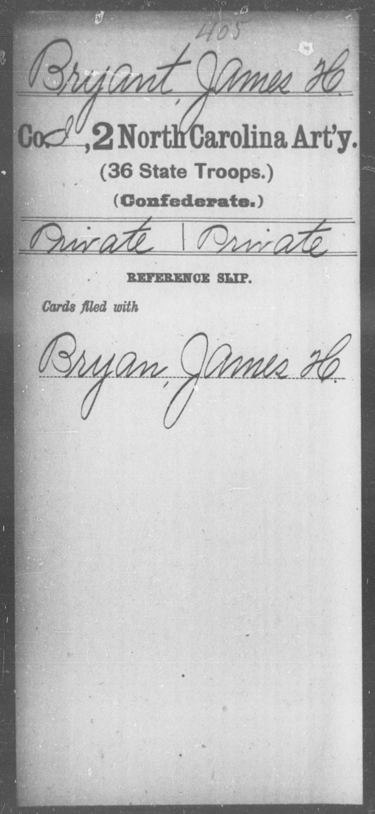 Bryant, James H - Second Artillery (36th State Troops)