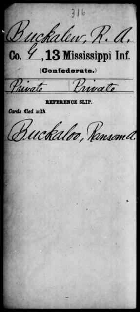 Buckalew, R A - Age: [Blank], Year: [BLANK] - Mississippi B