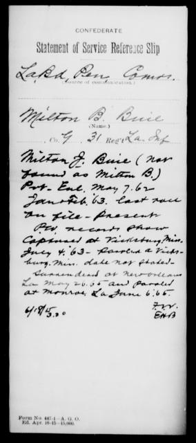 Buie, Milton B - Age [Blank], Year: [Blank] - Thirty-first Infantry, A - Co - Louisiana