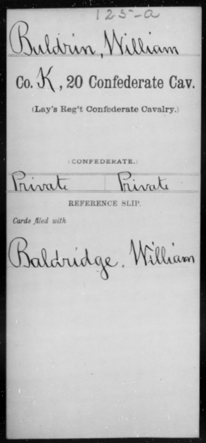 Buldrin, William - Age [Blank], Year: [Blank] - Twentieth Confederate Cavalry (Lay's Regiment), A-M - Raised Directly by the Confederate Government