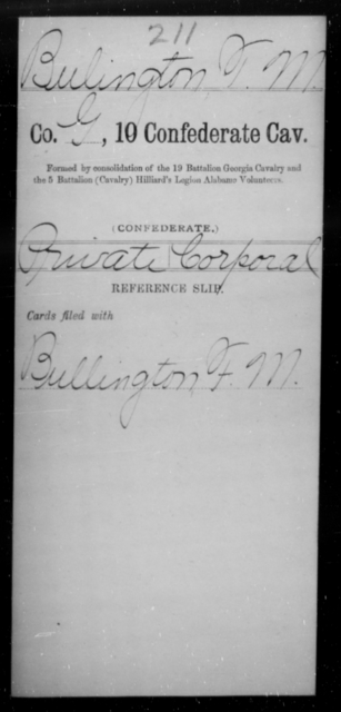Bulington, T M - Age [Blank], Year: [Blank] - Tenth Confederate Cavalry, A-E - Raised Directly by the Confederate Government