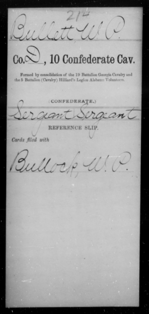 Bullett, W P - Age [Blank], Year: [Blank] - Tenth Confederate Cavalry, A-E - Raised Directly by the Confederate Government