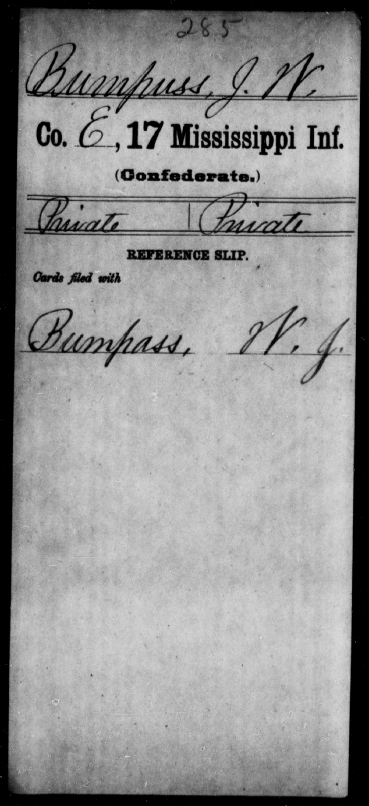Bumpuss, J W - Age: [Blank], Year: [BLANK] - Mississippi Seventeenth Infantry, Bo-Ch
