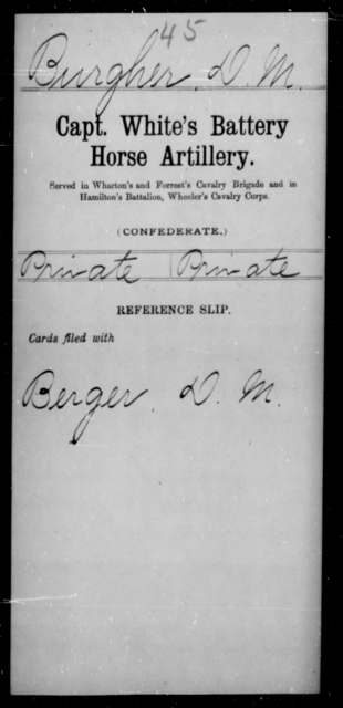 Burgher, D M - Age [Blank], Year: [Blank] - Stuart's Horse Artillery AND Capt. White's Battery, Horse Artillery - Raised Directly by the Confederate Government