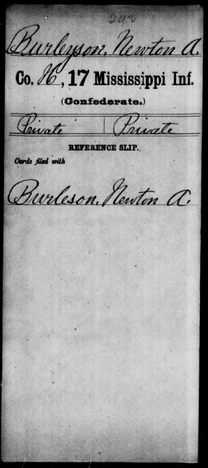 Burleyson, Newton A - Age: [Blank], Year: [BLANK] - Mississippi Seventeenth Infantry, Bo-Ch