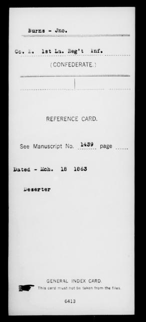 Burns, Jno - Age [Blank], Year: [Blank] - First (Strawbridge's) Infantry, A - B - Louisiana