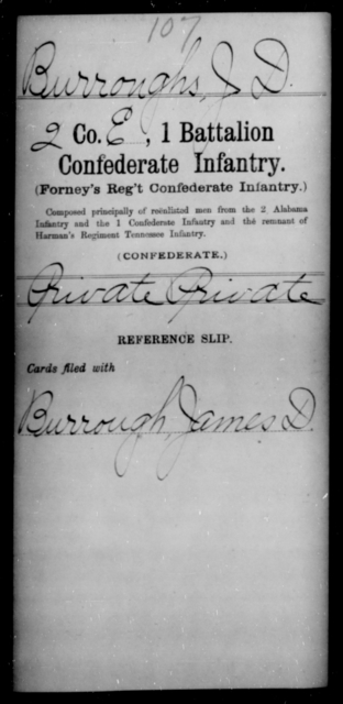 Burrough, J D - Age [Blank], Year: [Blank] - First Battalion, Confederate Infantry, A-K - Raised Directly by the Confederate Government