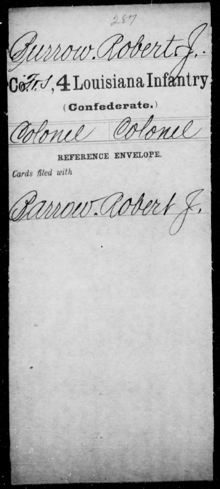 Burrow, Robert J - Age [Blank], Year: [Blank] - Third Regiment, First Brigade, First Division, Militia, - Louisiana