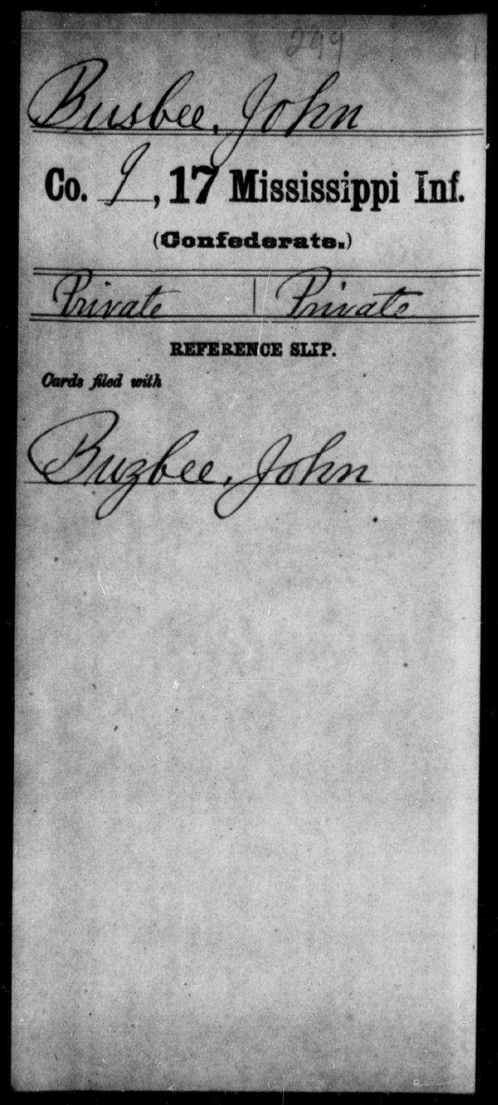 Busbee, John - Age: [Blank], Year: [BLANK] - Mississippi Seventeenth Infantry, Bo-Ch