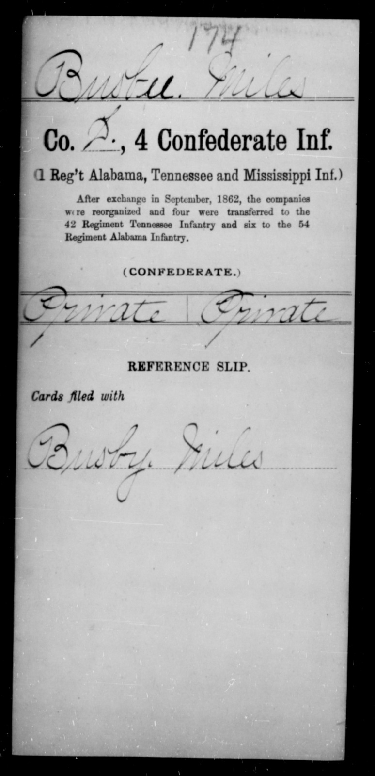 Busbee, Miles - Age [Blank], Year: [Blank] - Fourth Confederate Infantry, A-F - Raised Directly by the Confederate Government