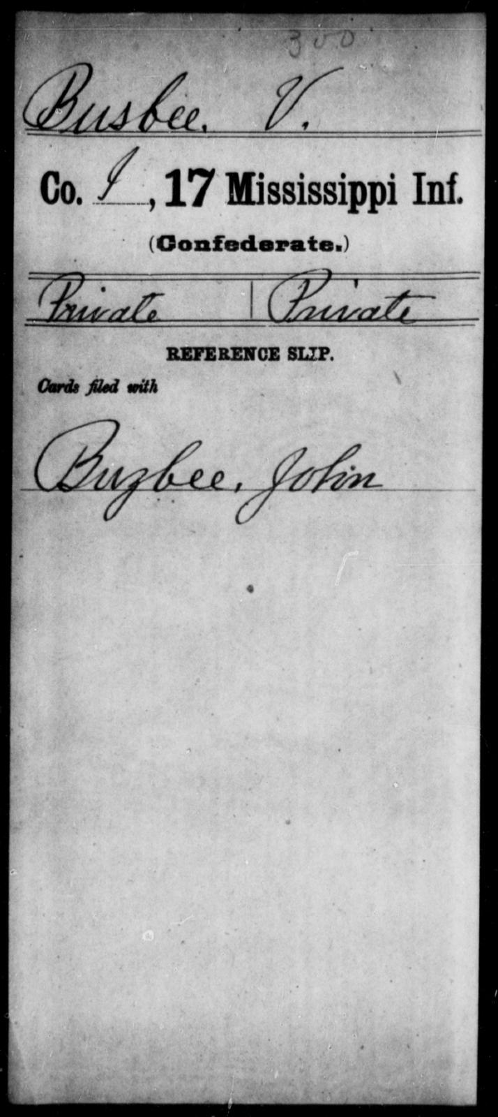 Busbee, V - Age: [Blank], Year: [BLANK] - Mississippi Seventeenth Infantry, Bo-Ch