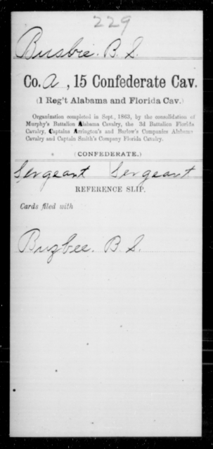 Busbie, B S - Age [Blank], Year: [Blank] - Fifteenth Confederate Cavalry (1st Regiment, Alabama and Florida Cavalry), A-C - Raised Directly by the Confederate Government