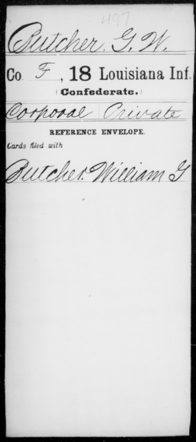 Butcher, G W - Age [Blank], Year: [Blank] - Eighteenth Infantry, Br - C - Louisiana