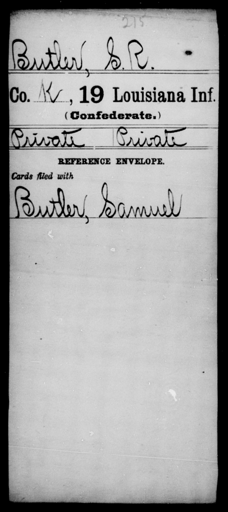 Butler, S R - Age [Blank], Year: [Blank] - Nineteenth Infantry, A - B - Louisiana