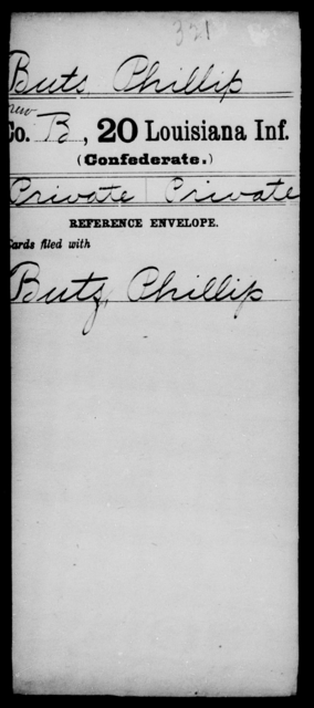 Buts, Phillip - Age [Blank], Year: [Blank] - Twentieth Infantry, A - B - Louisiana