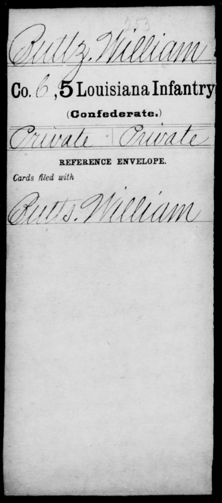 Buttz, William - Age [Blank], Year: [Blank] - Militia, R - Z - Louisiana