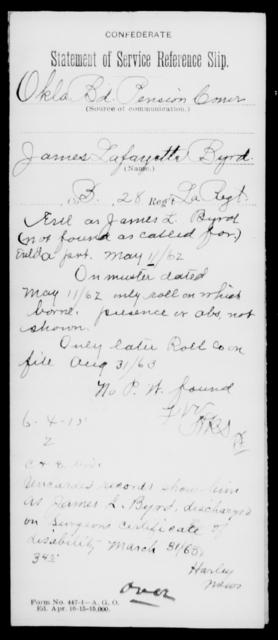Byrd, James Lafayette - Age [Blank], Year: [Blank] - Twenty-eighth (Gray's) Infantry, A - Cl - Louisiana