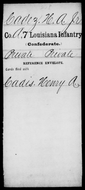 Cadez, H A - Age [Blank], Year: [Blank] - Seventh Infantry, Bu - Cr - Louisiana
