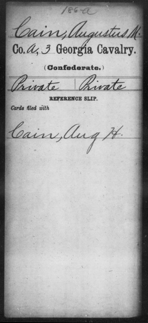 Cain, Augustus M - 3d Cavalry