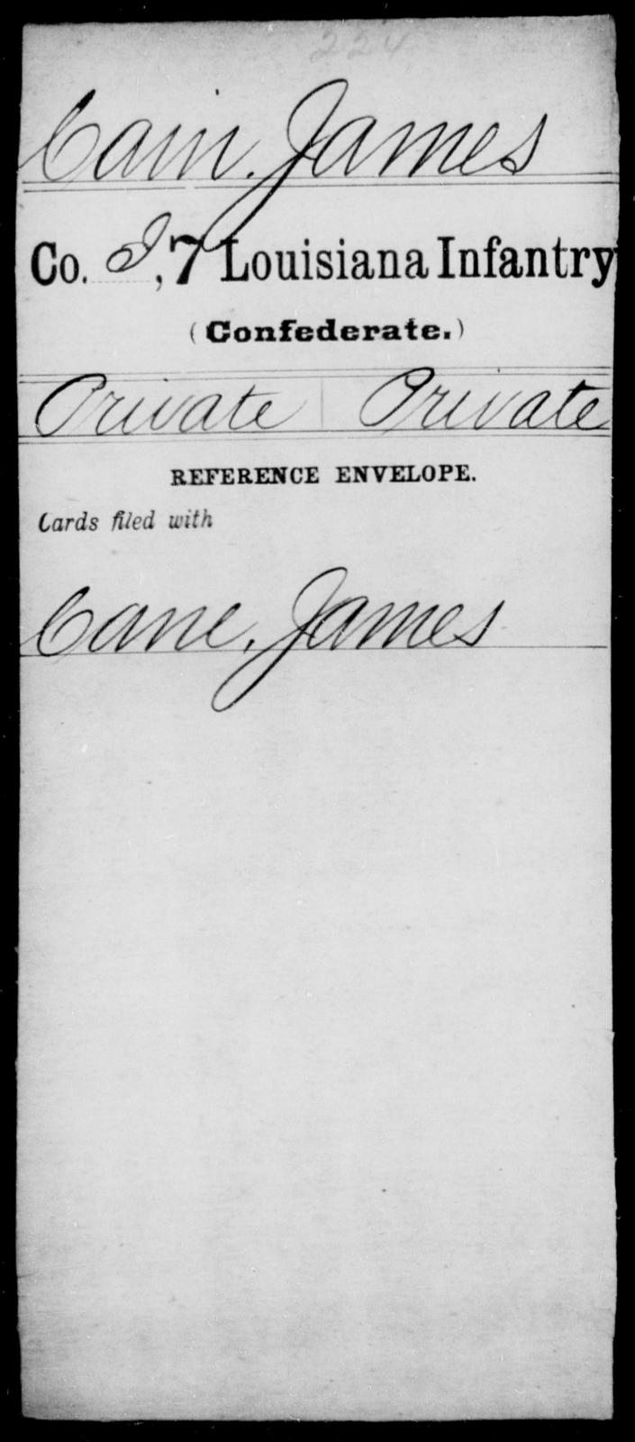 Cain, James - Age [Blank], Year: [Blank] - Seventh Infantry, Bu - Cr - Louisiana