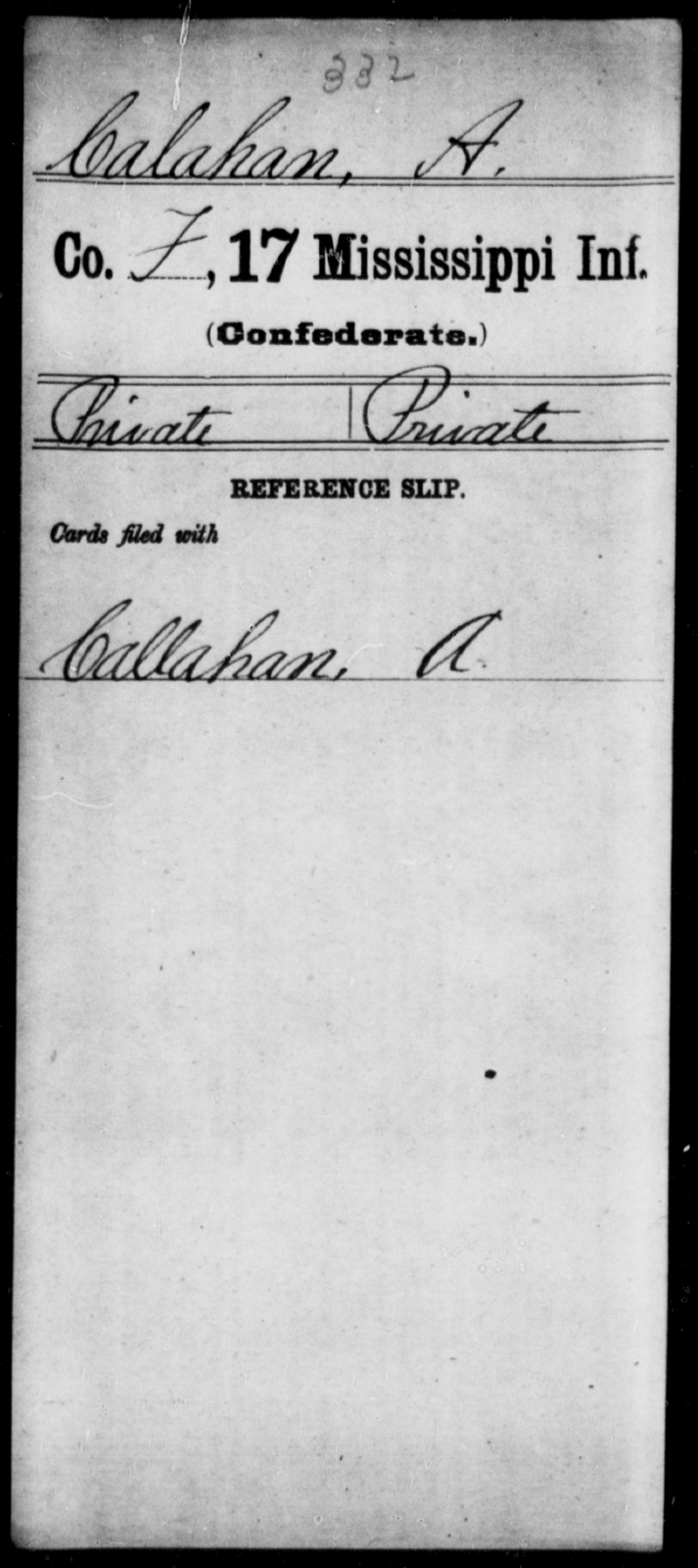 Calahan, A - Age: [Blank], Year: [BLANK] - Mississippi Seventeenth Infantry, Bo-Ch