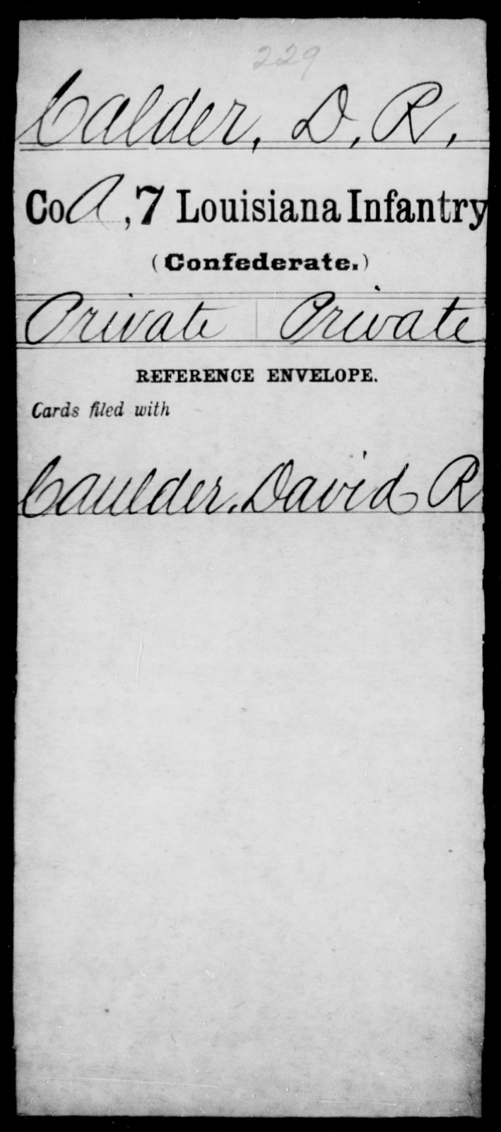 Calder, D R - Age [Blank], Year: [Blank] - Seventh Infantry, Bu - Cr - Louisiana