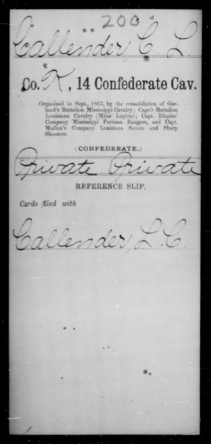 Callender, C L - Age [Blank], Year: [Blank] - Fourteenth Confederate Cavalry, A-K - Raised Directly by the Confederate Government