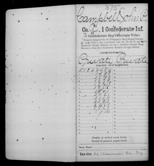 Campbell, John P - Age [Blank], Year: 1862 - First Confederate Infantry, C-E - Raised Directly by the Confederate Government