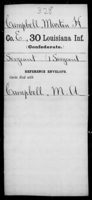 Campbell, Martin H - Age [Blank], Year: [Blank] - Thirtieth Infantry, C - Fa - Louisiana