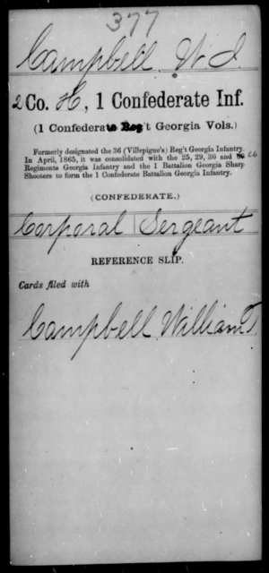Campbell, W I - Age [Blank], Year: [Blank] - First Confederate Infantry, C-E - Raised Directly by the Confederate Government