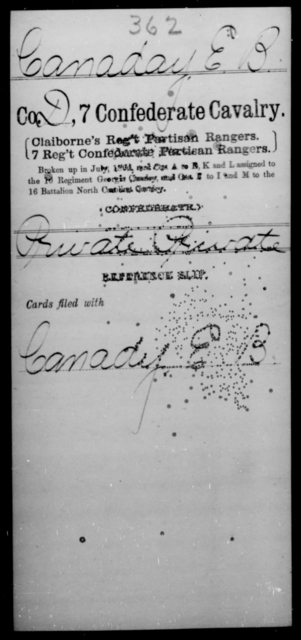 Canaday, E B - Age [Blank], Year: [Blank] - Seventh Confederate Cavalry, C-F - Raised Directly by the Confederate Government