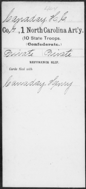 Canaday, H C - First Artillery (10th State Troops)