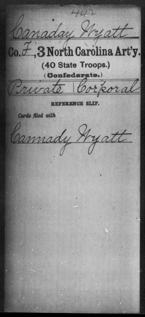 Canaday, Wyatt - Third Artillery (40th State Troops)