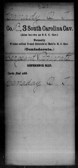 Canady, O T - Age: [Blank], Year: 1862 - South Carolina Third Cavalry C-Di