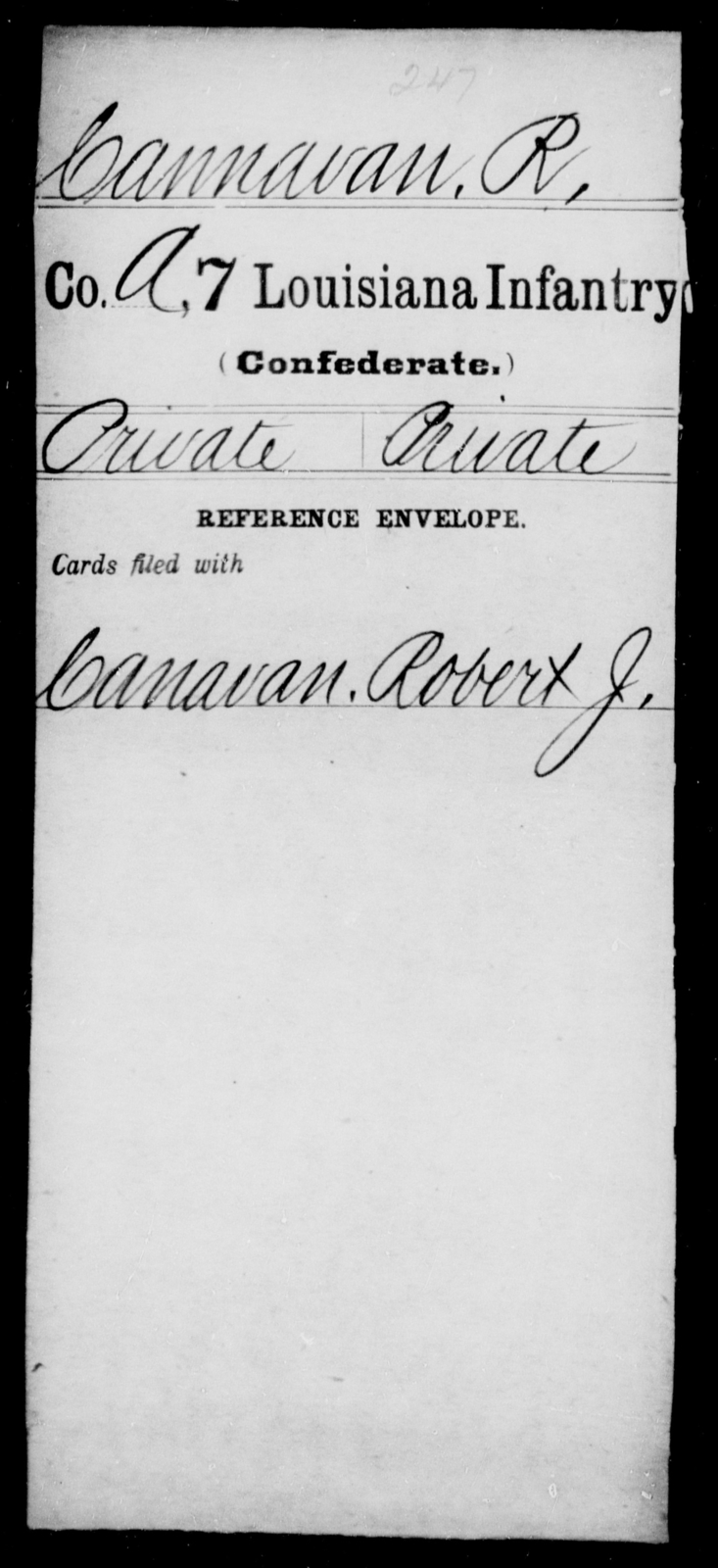 Cannavan, R - Age [Blank], Year: [Blank] - Seventh Infantry, Bu - Cr - Louisiana