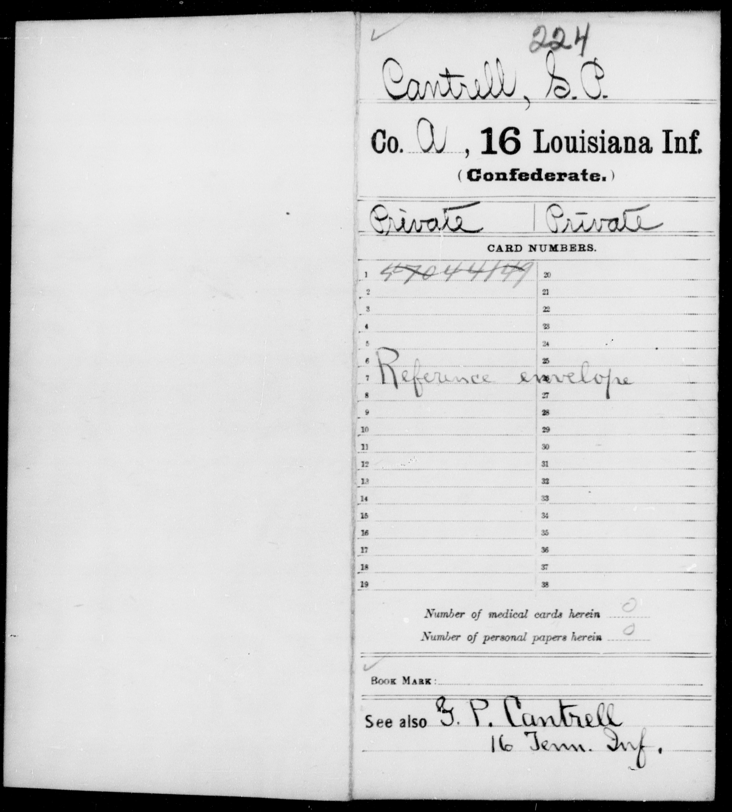 Cantrell, S P - Age [Blank], Year: [Blank] - Sixteenth Infantry, A - Ca - Louisiana