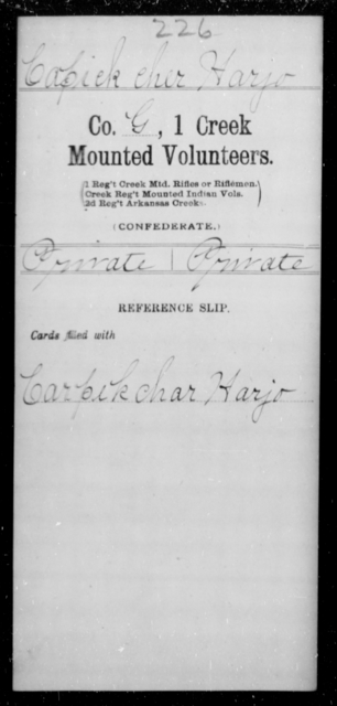 Capick Cher, Harjo - Age [Blank], Year: [Blank] - First Creek Mounted Volunteers, A-H - Raised Directly by the Confederate Government