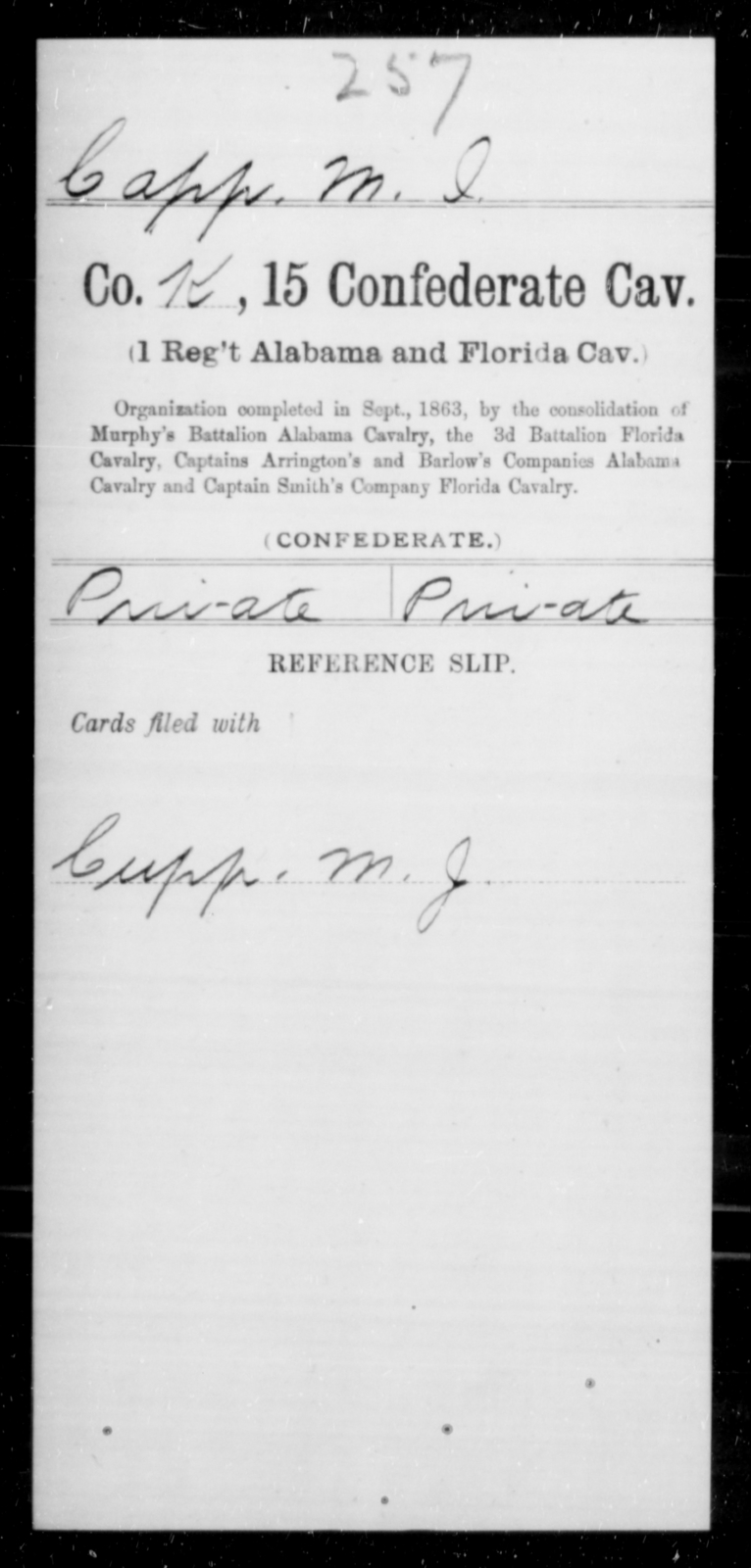Capp, M I - Age [Blank], Year: [Blank] - Fifteenth Confederate Cavalry (1st Regiment, Alabama and Florida Cavalry), A-C - Raised Directly by the Confederate Government