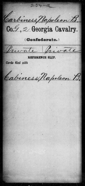 Carbiness, Napoleon B - 1st Gordon Squadron, Cavalry (State Guards), 2d Georgia Cavalry AND 2d Georgia Cavalry