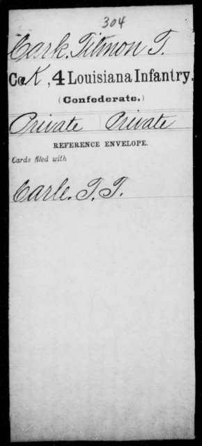 Cark, Tilmon T - Age [Blank], Year: [Blank] - Third Regiment, First Brigade, First Division, Militia,, A- K - Louisiana