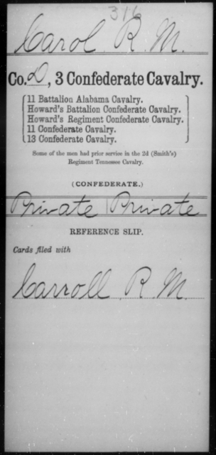 Carol, R M - Age [Blank], Year: [Blank] - Third Confederate Cavalry, A-C - Raised Directly by the Confederate Government