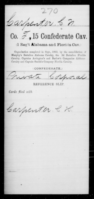 Carpenter, C N - Age [Blank], Year: [Blank] - Fifteenth Confederate Cavalry (1st Regiment, Alabama and Florida Cavalry), A-C - Raised Directly by the Confederate Government