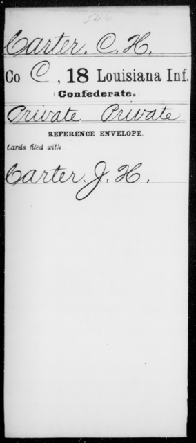 Carter, C H - Age [Blank], Year: [Blank] - Eighteenth Infantry, Br - C - Louisiana